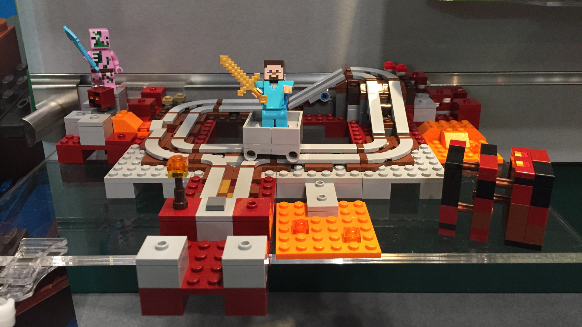 Lego Minecraft Sets 2017 Toy Fair Gamerheadquarters 21134 The Waterfall Base Set 21130 Nether Railway At